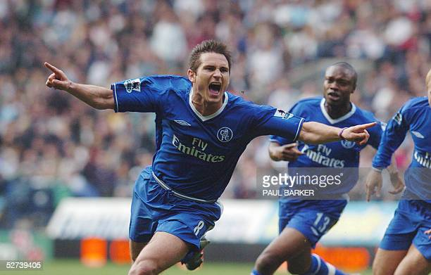 Chelsea's Frank Lampard celebrates after scoring to make it 10 against Bolton with the goal that may give them the Premiership title during a...