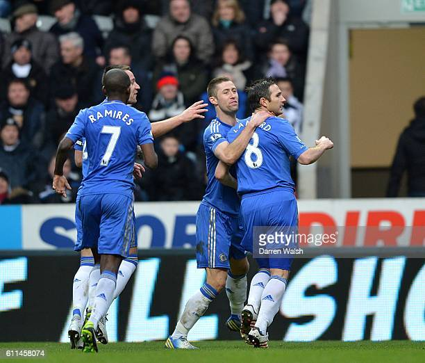 Chelsea's Frank Lampard celebrates scoring his side's first goal of the game with teammate Gary Cahill