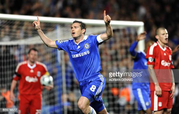 Chelsea's Frank Lampard celebrates scoring his teams' third goal against Liverpool during the UEFA Champions League quarterfinal second leg football...