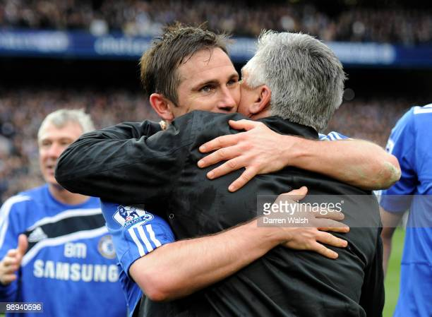 Chelsea's Frank Lampard hugs his manager Carlo Ancelotti after winning the league with an 80 victory during the Barclays Premier League match between...