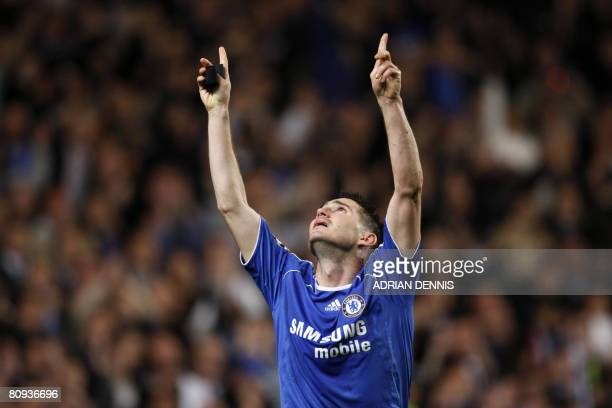 Chelsea's Frank Lampard looks towards the sky as he celebrates scoring against Liverpool during the second leg of a UEFA Champions League semi-final...