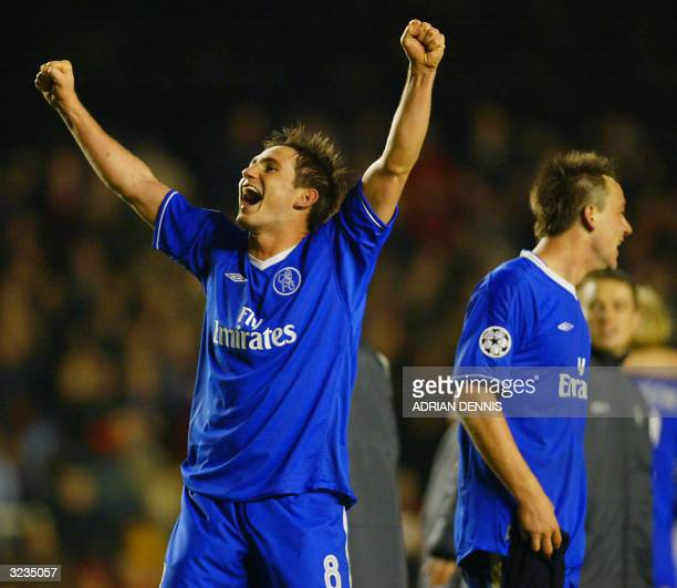 Chelsea's Frank Lampard waves to the Chelsea fans as he and John Terry celebrate their win over Arsenal after their Champions League quarterfinal...