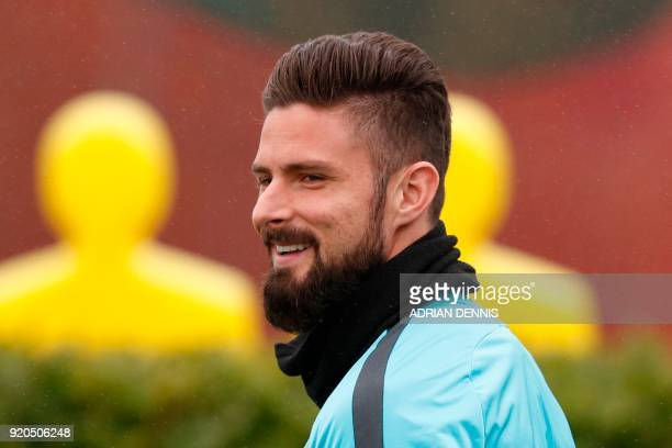 Chelsea's French attacker Olivier Giroud attends a training session at Chelsea's Cobham training facility in Stoke D'Abernon southwest of London on...