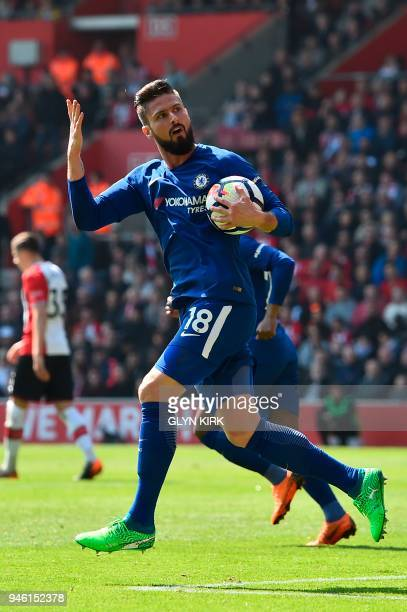 Chelsea's French attacker Olivier Giroud celebrates scoring their first goal during the English Premier League football match between Southampton and...
