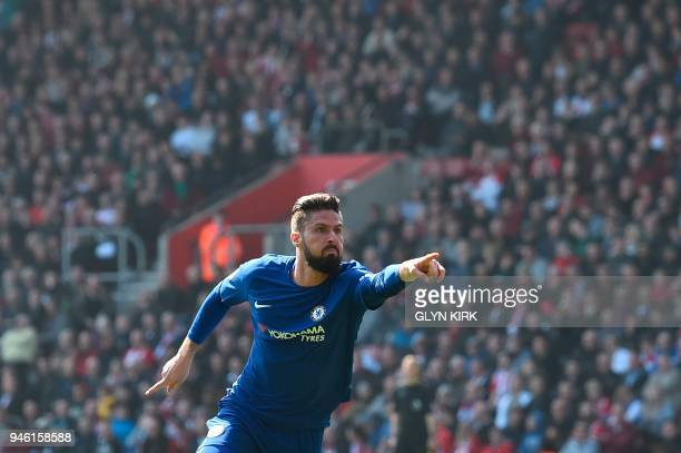 Chelsea's French attacker Olivier Giroud celebrates scoring their third goal during the English Premier League football match between Southampton and...