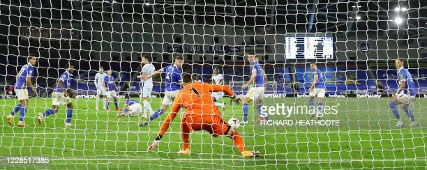 Chelsea's French defender Kurt Zouma scores their thrid goal during the English Premier League football match between Brighton and Hove Albion and...