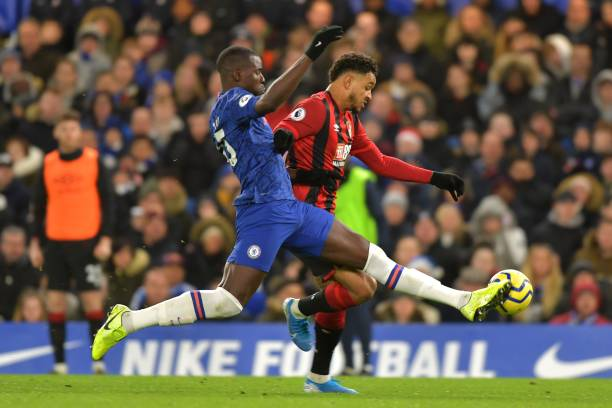 Chelsea's French defender Kurt Zouma tackles Bournemouth's Norwegian striker Joshua King during the English Premier League football match between...
