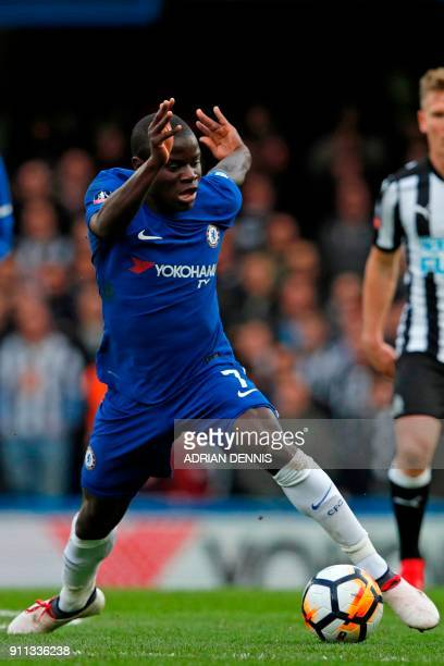 Chelsea's French midfielder N'Golo Kante controls the ball during the English FA Cup fourth round football match between Chelsea and Newcastle United...