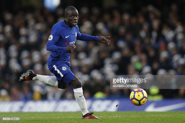 Chelsea's French midfielder N'Golo Kante runs during the English Premier League football match between Chelsea and Southampton at Stamford Bridge in...