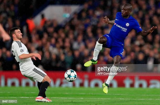 Chelsea's French midfielder N'Golo Kante vies with Qarabag's Azerbaijani midfielder Gara Garayev during the UEFA Champions League Group C football...