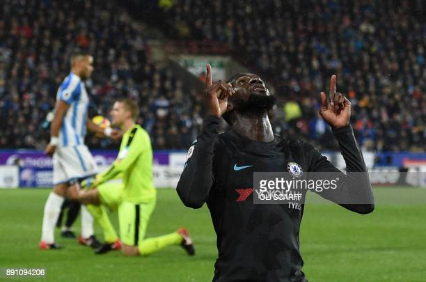 Chelsea's French midfielder Tiemoue Bakayoko celebrates after scoring during the English Premier League football match between Huddersfield Town and...