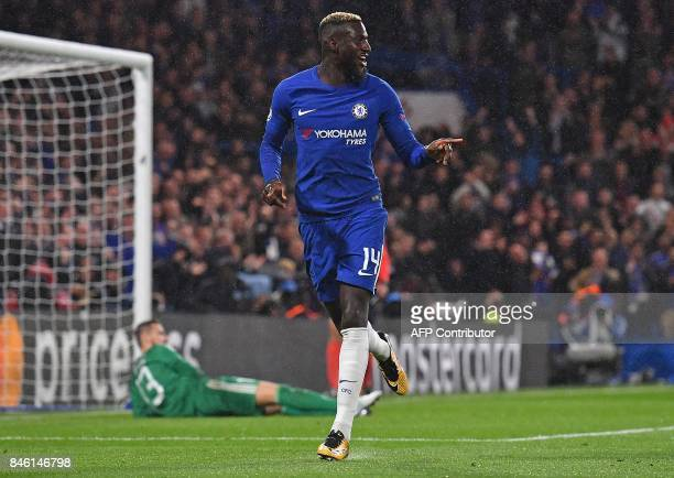 Chelsea's French midfielder Tiemoue Bakayoko celebrates scoring his team's fourth goal during the UEFA Champions League Group C football match...