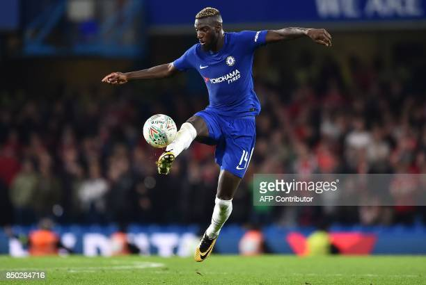 Chelsea's French midfielder Tiemoue Bakayoko controls the ball during the English League Cup third round football match between Chelsea and...