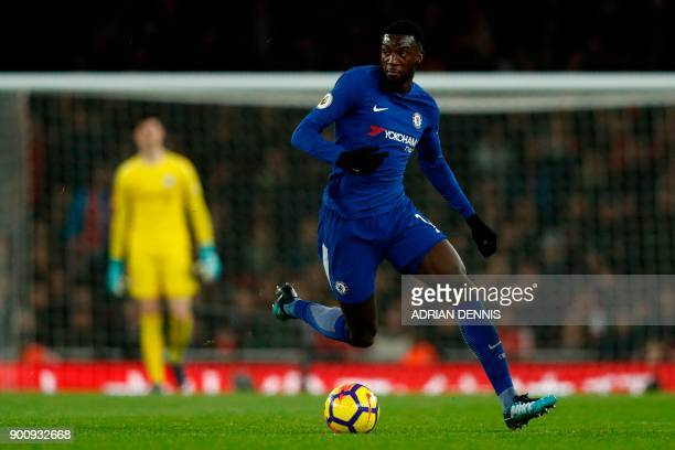 Chelsea's French midfielder Tiemoue Bakayoko runs during the English Premier League football match between Arsenal and Chelsea at the Emirates...