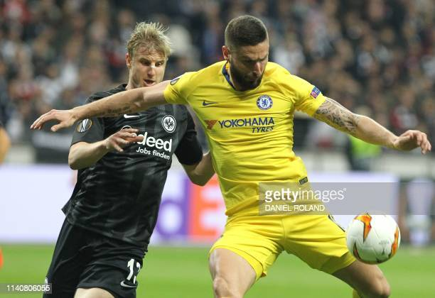 Chelsea's French striker Olivier Giroud and Frankfurt's German defender Martin Hinteregger vie during the UEFA Europa League semifinal first leg...