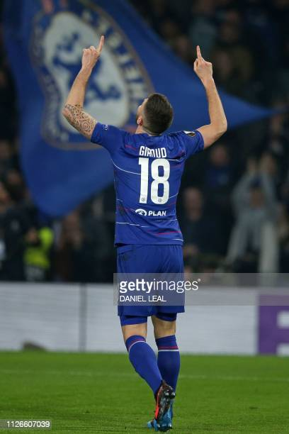Chelsea's French striker Olivier Giroud celebrates after scoring the opening goal of the UEFA Europa League round of 32 2nd leg football match...