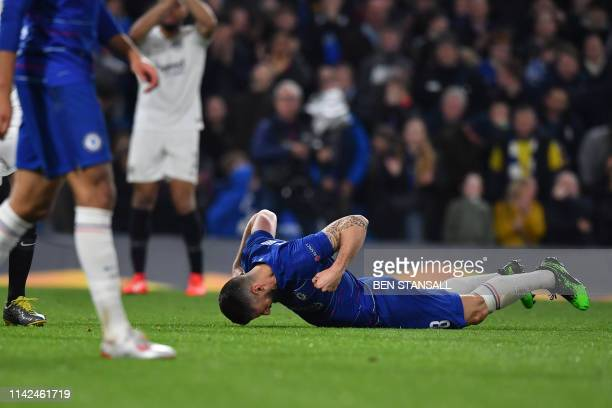 Chelsea's French striker Olivier Giroud reacts to a missed chance at goal during the UEFA Europa League semifinal second leg football match between...