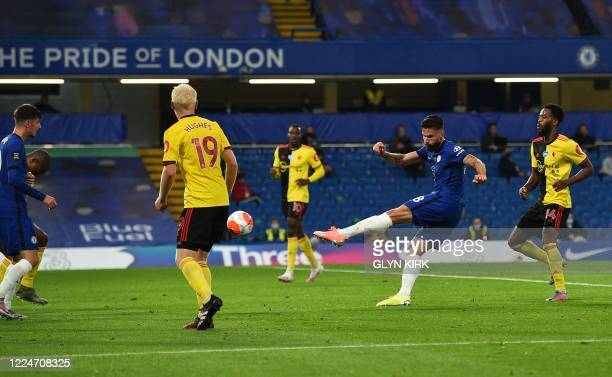 Chelsea's French striker Olivier Giroud rshoots towards goal during the English Premier League football match between Chelsea and Watford at Stamford...