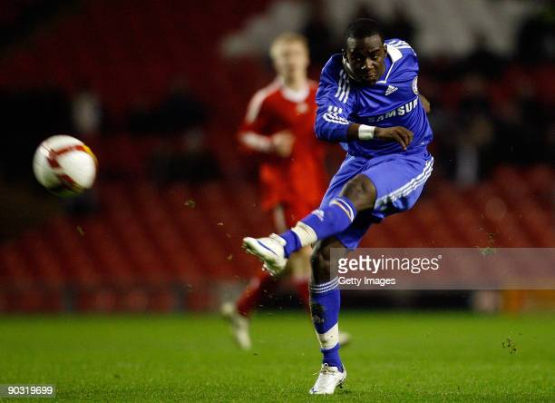 Chelsea's Gael Kakuta shoots at goal during the FA Youth Cup match between Liverpool Youth and Chelsea Youth at Anfield Stadium on February 5 2009 in...