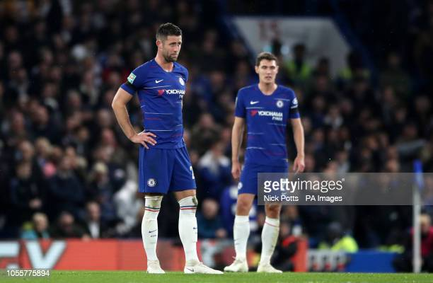 Chelsea's Gary Cahill and Andreas Christensen react after conceding a second goal during the Carabao Cup Fourth Round match at Stamford Bridge London