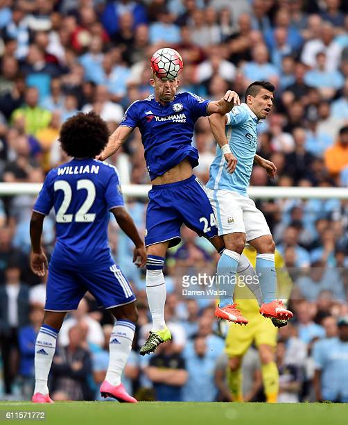 Chelsea's Gary Cahill and Manchester City's Sergio Aguero battle for the ball