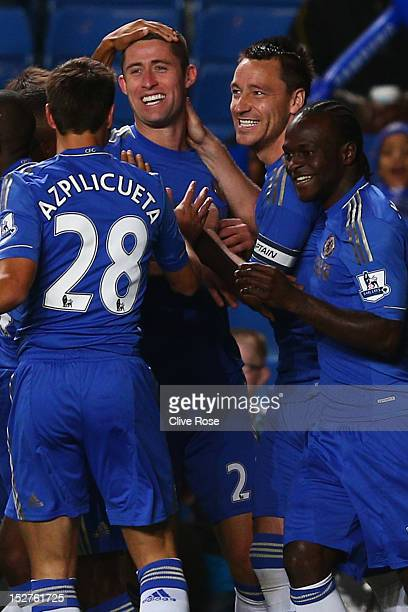 Chelsea's Gary Cahill celebrates scoring the first goal of the match with temmates Cesar Azpilicueta John Terry and Victor Moses during the Capital...