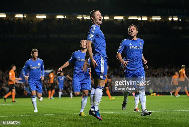 Chelsea's Gary Cahill celebrates scoring the opening goal of the game