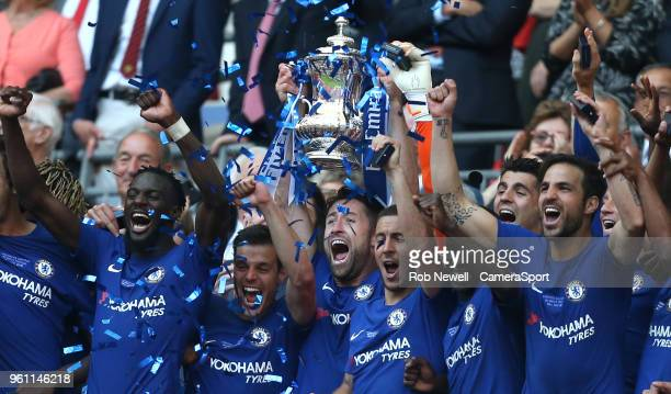 Chelsea's Gary Cahill lifts the trophy during the Emirates FA Cup Final match between Chelsea and Manchester United at Wembley Stadium on May 19 2018...