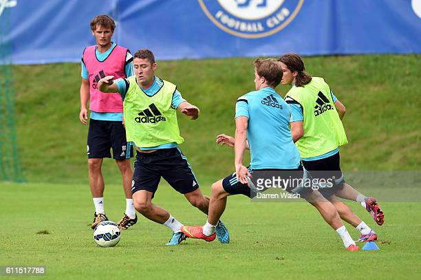 Chelsea's Gary Cahill Patrick Bamford Filipe Luis during a training session at the Waldarena on the 25th July 2014 in Velden Austria