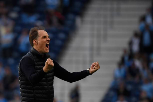 Chelsea's German coach Thomas Tuchel celebrates the first goal during the UEFA Champions League final football match between Manchester City and...
