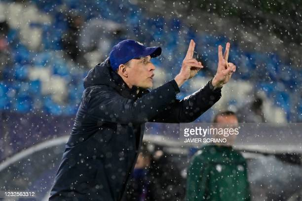 Chelsea's German coach Thomas Tuchel gestures during the UEFA Champions League semi-final first leg football match between Real Madrid and Chelsea at...