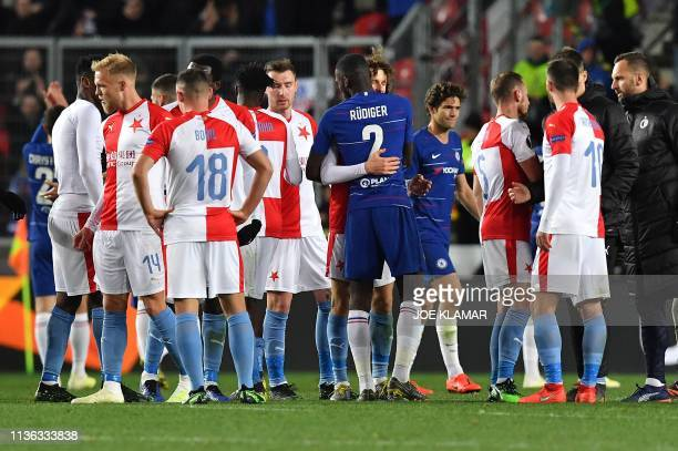 Chelsea's German defender Antonio Rudiger and Slavia Prague's Czech midfielder Alex Kral embrace after during the UEFA Europa League quarterfinal...