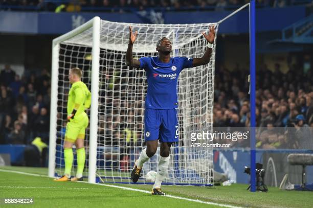 Chelsea's German defender Antonio Rudiger celebrates after scoring from a looping header during the English League Cup fourth round football match...