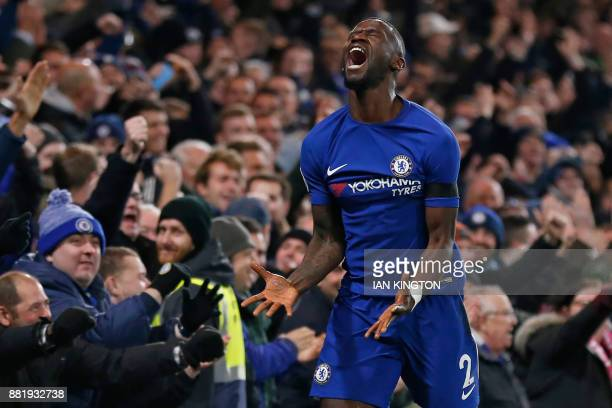 Chelsea's German defender Antonio Rudiger celebrates after scoring the opening goal of the English Premier League football match between Chelsea and...