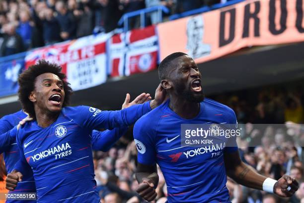 Chelsea's German defender Antonio Rudiger celebrates with Chelsea's Brazilian midfielder Willian after scoring the opening goal of the English...