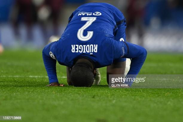 Chelsea's German defender Antonio Rudiger reacts after the UEFA Champions League second leg semi-final football match between Chelsea and Real Madrid...
