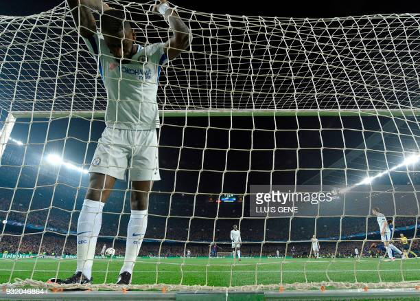Chelsea's German defender Antonio Rudiger reacts to Barcelona's third goal during the UEFA Champions League round of sixteen second leg football...