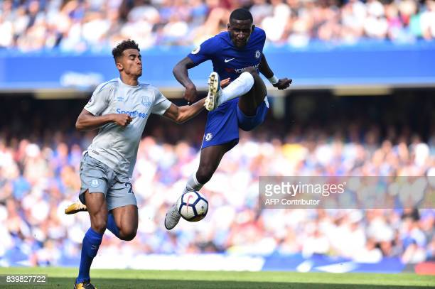 Chelsea's German defender Antonio Rudiger vies with Everton's English striker Dominic CalvertLewin during the English Premier League football match...