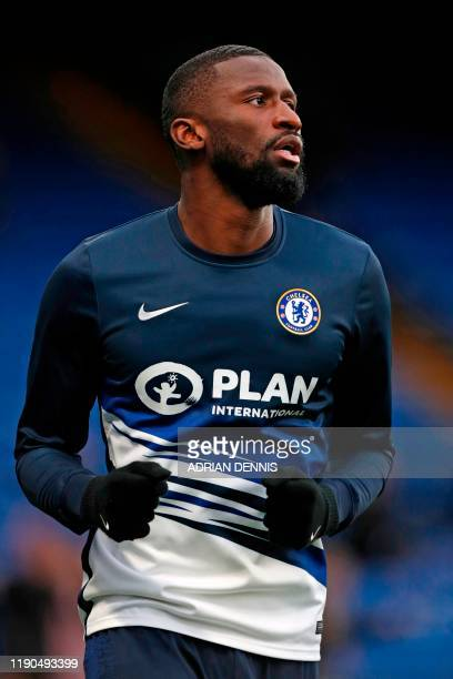 Chelsea's German defender Antonio Rudiger warms up ahead of the English Premier League football match between Chelsea and Southampton at Stamford...