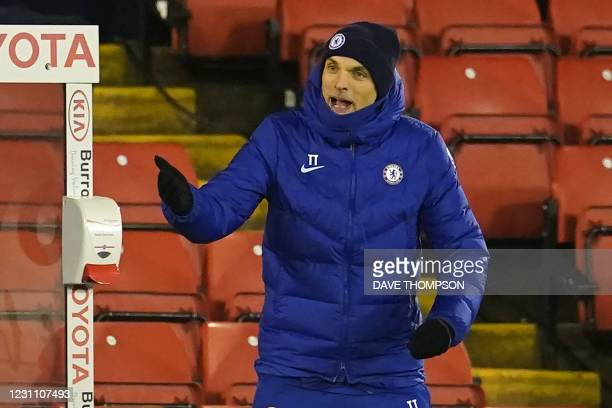 Chelsea's German head coach Thomas Tuchel gestures on the touchline during the English FA Cup fifth round football match between Barnsley and Chelsea...