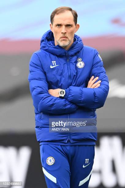 Chelsea's German head coach Thomas Tuchel looks on during the English Premier League football match between West Ham United and Chelsea at The London...