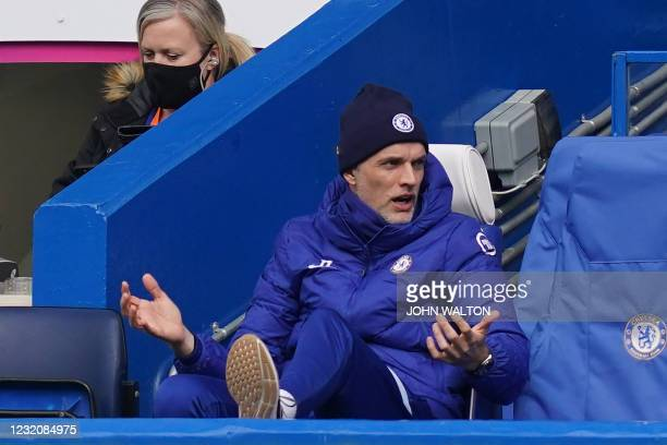 Chelsea's German head coach Thomas Tuchel reacts during the English Premier League football match between Chelsea and West Bromwich Albion at...