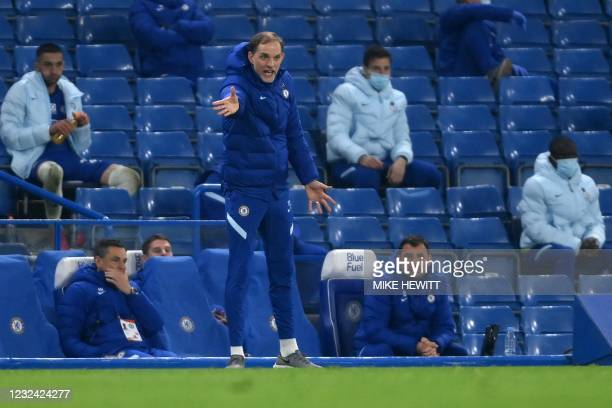 Chelsea's German head coach Thomas Tuchel shouts instructions to his players from the touchline during the English Premier League football match...