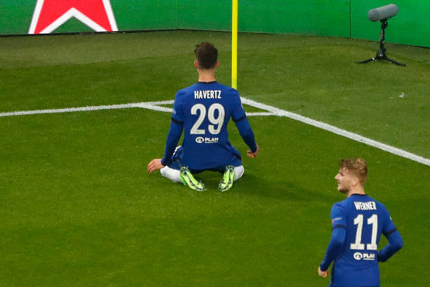 Chelsea's German midfielder Kai Havertz celebrates his goal during the UEFA Champions League final football match between Manchester City and Chelsea...