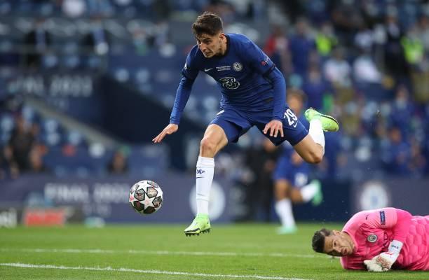 Chelsea's German midfielder Kai Havertz scores a goal past Manchester City's Brazilian goalkeeper Ederson during the UEFA Champions League final...