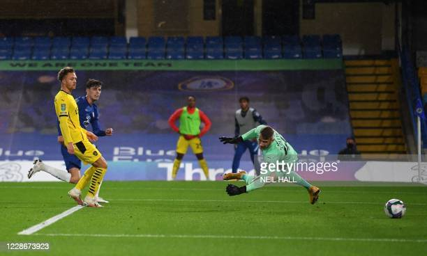 Chelsea's German midfielder Kai Havertz scores his team's second goal during the English League Cup third round football match between Chelsea and...