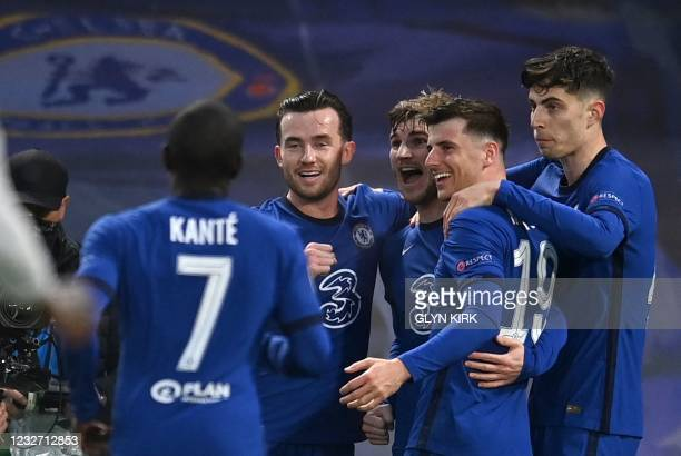 Chelsea's German striker Timo Werner celebrates scoring the opening goal during the UEFA Champions League second leg semi-final football match...
