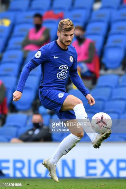 Chelsea's German striker Timo Werner controls the ball during the pre-season friendly football match between Brighton and Hove Albion and Chelsea at...
