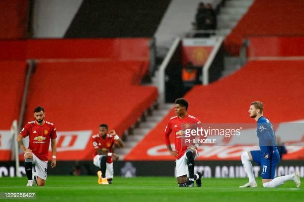 Chelsea's German striker Timo Werner, Manchester United's English striker Marcus Rashford and Manchester United's Portuguese midfielder Bruno...