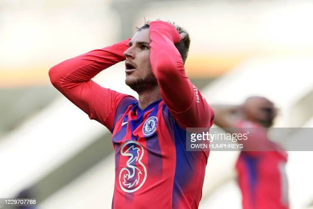 Chelsea's German striker Timo Werner reacts after failing to score during the English Premier League football match between Newcastle United and...